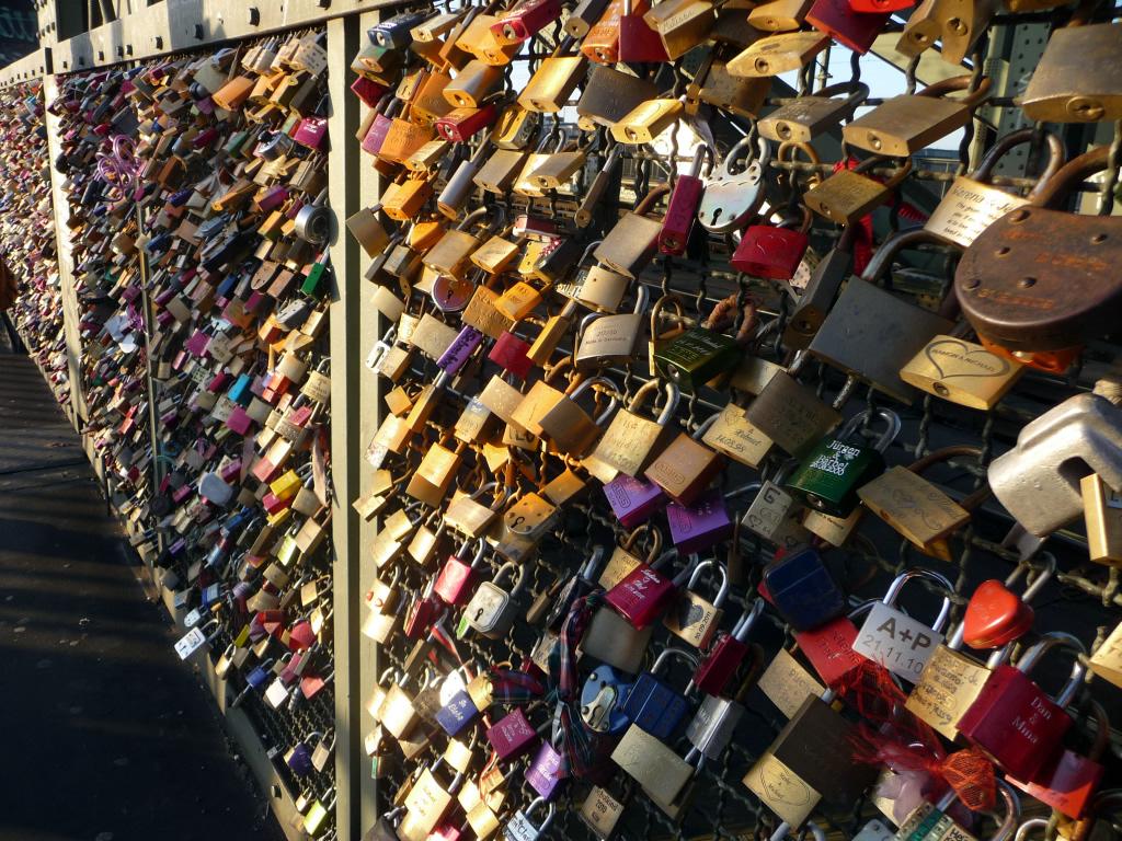 Love locks on Hohenzollernbrücke Bridge