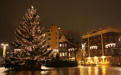 Christmas tree in Nieuwmarkt, Amsterdam