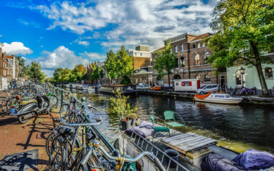 Bikes next to a canal in Amsterdam