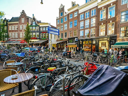 Bikes outside a bar in Amsterdam