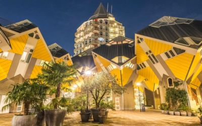 Rotterdam's cube houses at night